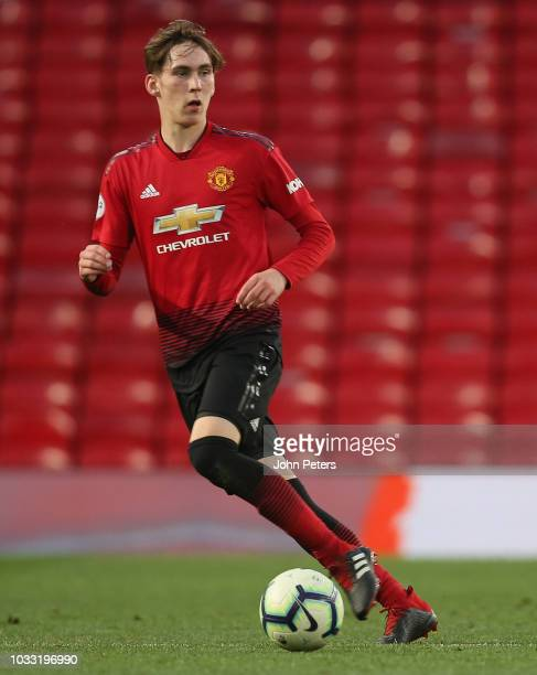 James Garner of Manchester United U23s in action during the Premier League 2 match between Manchester United U23s and Reading U23s at Old Trafford on...