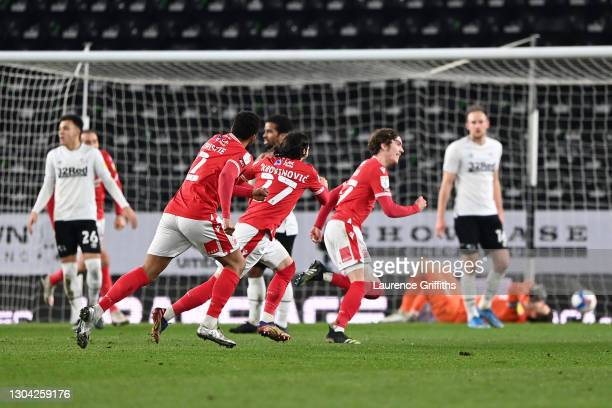 James Garner of Nottingham Forest celebrates his goal during the Sky Bet Championship match between Derby County and Nottingham Forest at Pride Park...