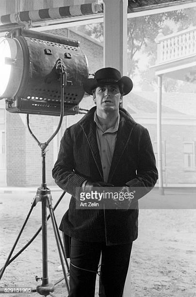James Garner on the set of Maverick in LA; circa 1970; California.