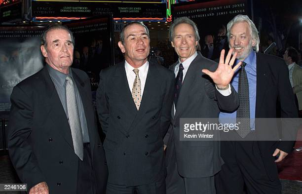 James Garner Tommy Lee Jones Clint Eastwood and Donald Sutherland at the premiere of 'Space Cowboys' at the Village Theater in Westwood Ca on 8/1/00...