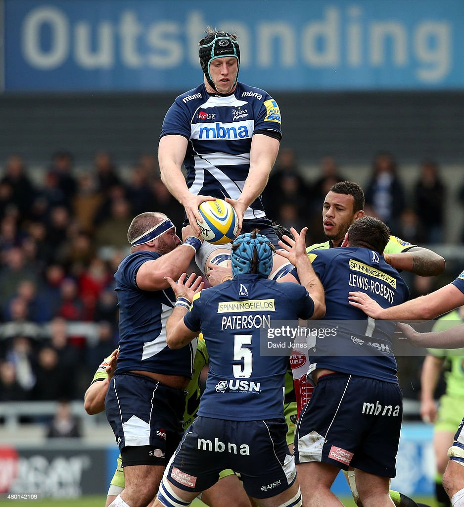 James Gaskell of Sale Sharks secures lineout ball during the Aviva Premiership match between Sale Sharks and Northampton Saints at A J Bell Stadium on March 22, 2014 in Salford, England