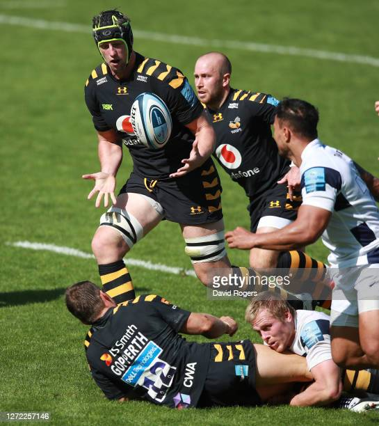 James Gaskell of Wasps catches the ball during the Gallagher Premiership Rugby match between Wasps and Bristol Bears at the Ricoh Arena on September...