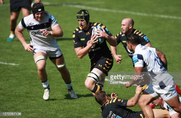 James Gaskell of Wasps charges upfield during the Gallagher Premiership Rugby match between Wasps and Bristol Bears at the Ricoh Arena on September...