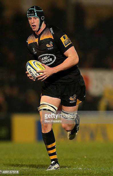 James Gaskell of Wasps in action during the Aviva Premiership match between Wasps and London Welsh at Adams Park on November 16, 2014 in High...