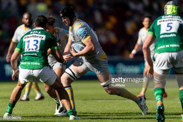 James Gaskell of Wasps in action during the Gallagher Premiership match between London Irish and Wasps at the Brentford Community Stadium, Brentford...
