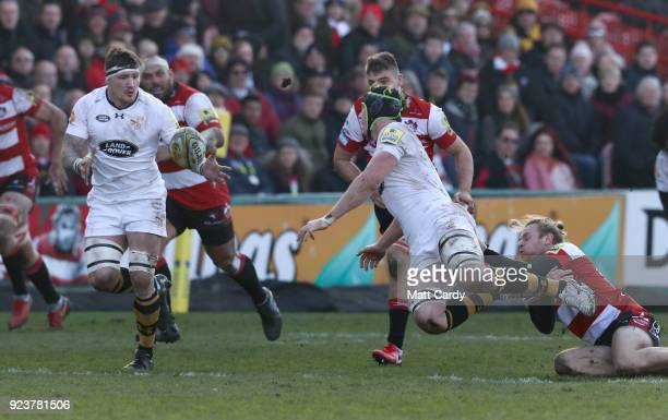James Gaskell of Wasps passes to Guy Thompson of Wasps during the Aviva Premiership match between Gloucester Rugby and Wasps at Kingsholm Stadium on...