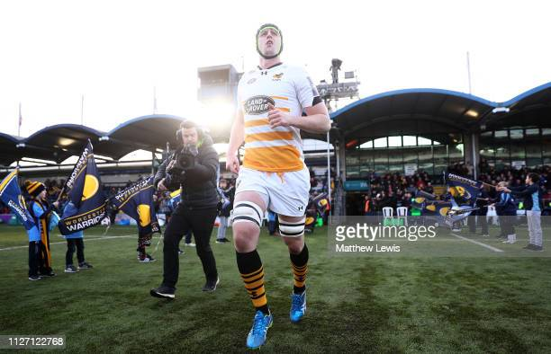 James Gaskell of Wasps runs out on his 100th apperance for Wasps during the Premiership Rugby Cup match between Worcester Warriors and Wasps at...