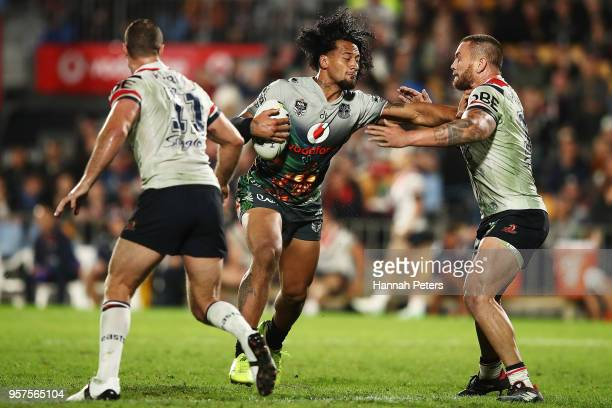 James Gavet charges forward during the round 10 NRL match between the New Zealand Warriors and the Sydney Roosters at Mt Smart Stadium on May 12 2018...