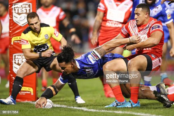 James Gavet of Samoa scores a try during the 2018 Pacific Test Invitational match between Tonga and Samoa at Campbelltown Sports Stadium on June 23,...