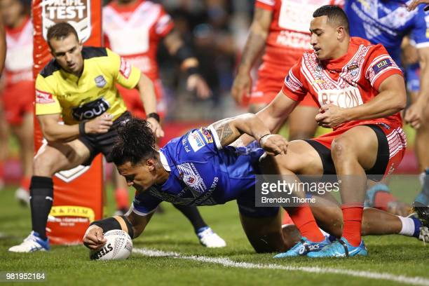 James Gavet of Samoa scores a try during the 2018 Pacific Test Invitational match between Tonga and Samoa at Campbelltown Sports Stadium on June 23...