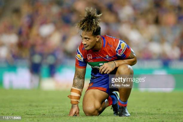 James Gavet of the Newcastle Knights looks dejected after losing during the round two NRL match between the Newcastle Knights and the Penrith...