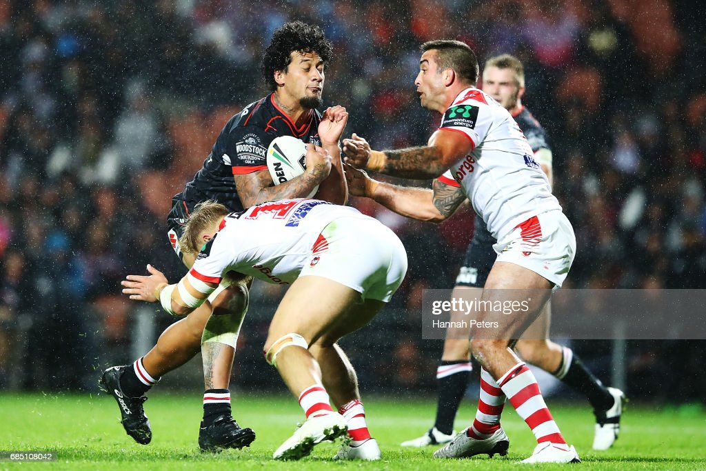 James Gavet of the Warriors charges forward during the round 11 NRL match between the New Zealand Warriors and the St George Illawarra Dragons at Waikato Stadium on May 19, 2017 in Hamilton, New Zealand.