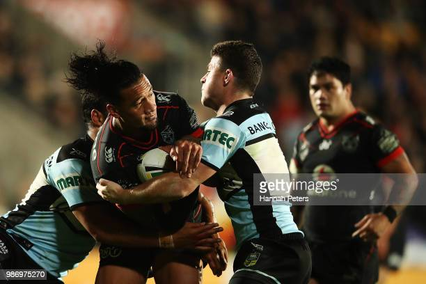 James Gavet of the Warriors charges forward during the round 16 NRL match between the New Zealand Warriors and the Cronulla Sharks at Mt Smart...