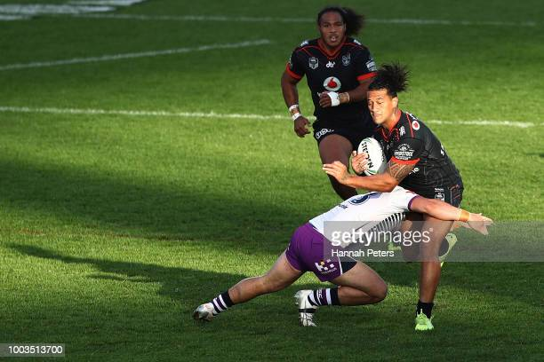 James Gavet of the Warriors charges forward during the round 19 NRL match between the New Zealand Warriors and the Melbourne Storm at Mt Smart...