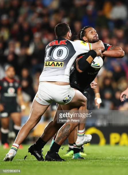 James Gavet of the Warriors charges forward during the round 24 NRL match between the New Zealand Warriors and the Penrith Panthers at Mt Smart...