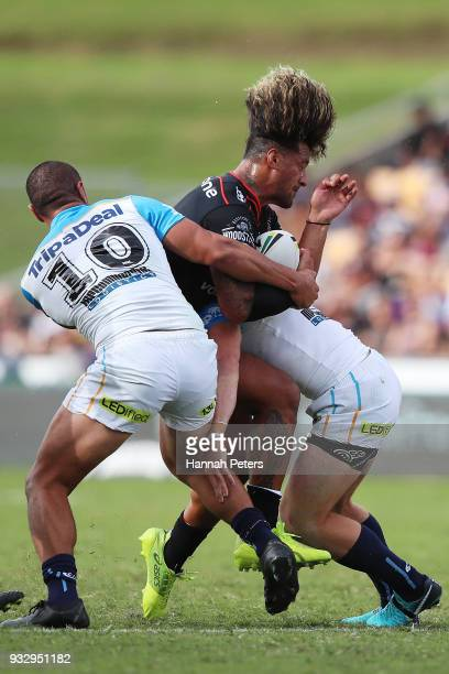 James Gavet of the Warriors charges forward during the round two NRL match between the New Zealand Warriors and the Gold Coast Titans at Mt Smart...