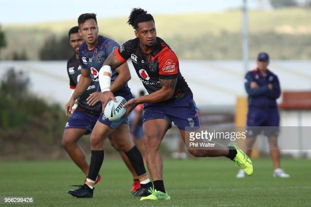 James Gavet of the Warriors during a New Zealand Warriors NRL training session at Mt Smart Stadium on May 9 2018 in Auckland New Zealand