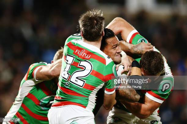 James Gavet of the Warriors is tackled by Angus Crichton of the Rabbitohs during the round 12 NRL match between the New Zealand Warriors and the...