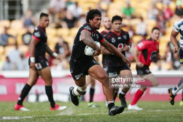James Gavet of the Warriors makes a run during the round five NRL match between the New Zealand Warriors and the Gold Coast Titans at Mt Smart...