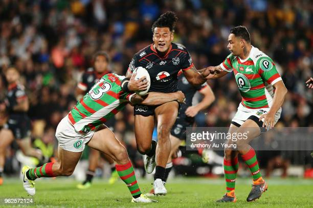 James Gavet of the Warriors on the charge during the round 12 NRL match between the New Zealand Warriors and the South Sydney Rabbitohs at Mt Smart...