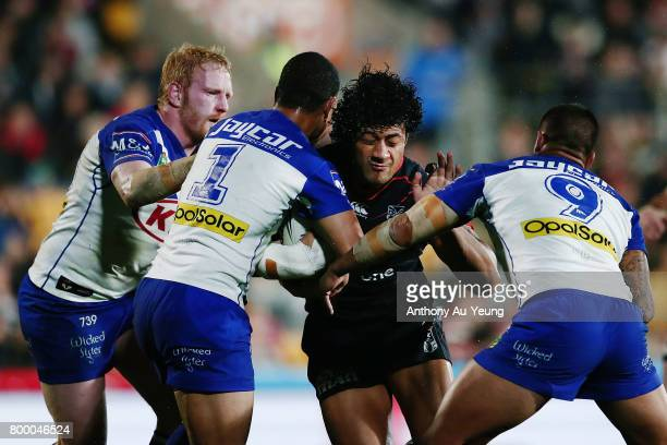 James Gavet of the Warriors on the charge during the round 16 NRL match between the New Zealand Warriors and the Canterbury Bulldogs at Mt Smart...