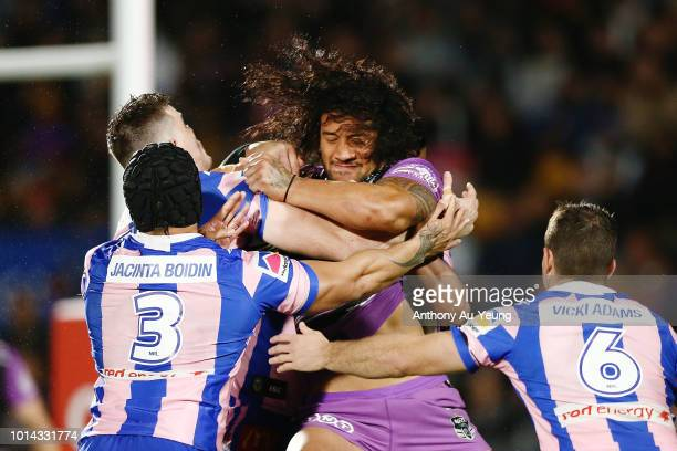 James Gavet of the Warriors on the charge during the round 22 NRL match between the New Zealand Warriors and the Newcastle Knights at Mt Smart...