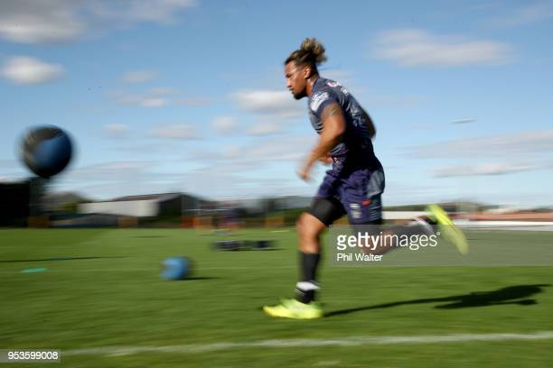 James Gavet of the Warriors runs during a New Zealand Warriors training session on May 2 2018 in Auckland New Zealand