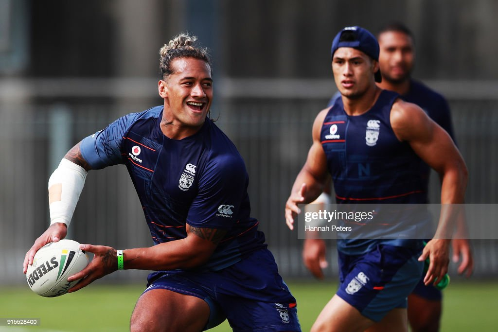 James Gavet of the Warriors runs through drills on during a New Zealand Warriors NRL training session at Mt Smart Stadium on February 8, 2018 in Auckland, New Zealand.