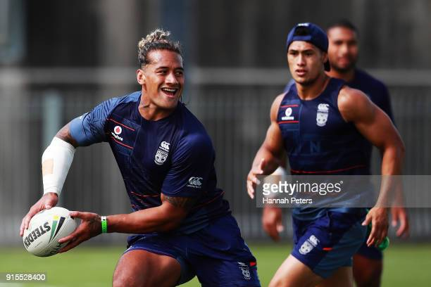 James Gavet of the Warriors runs through drills on during a New Zealand Warriors NRL training session at Mt Smart Stadium on February 8 2018 in...