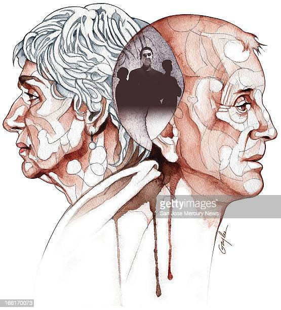 James Gayles illustration of older man and woman not facing each other with image of their adult children between them can be used with stories about...