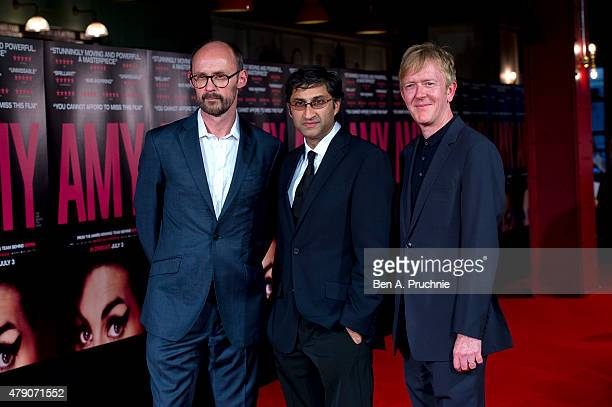"""James Gay-Rees, Asif Kapadia and Chris King attends the London Gala premiere of """"Amy"""" on June 30, 2015 in London, England."""