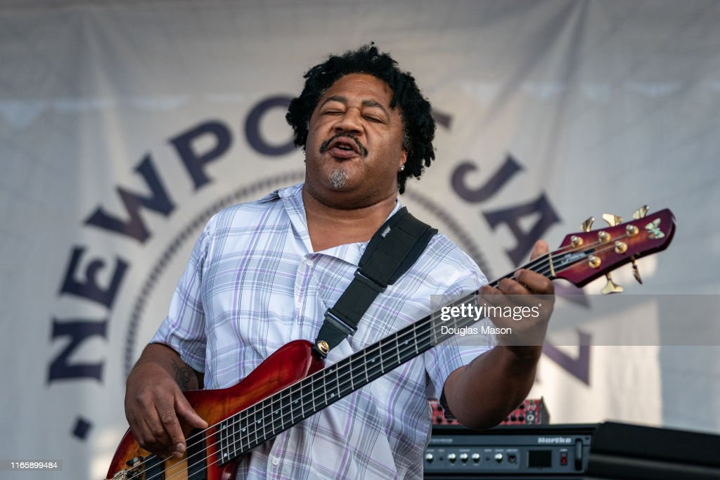 James Genus performs with Herbie Hancock during the Newport