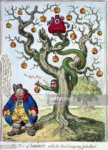 James Gillray British school The Tree of Liberty Snake tail in Cap of Liberty face of Charles James Fox coiled round dying oak offers damaged apple...