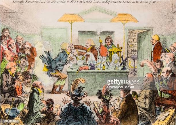 James Gillray 'Scientific Researches New Discoveries in Pneumatics Or an Experimental lecture on the Powers of Air' Satirical Drawing about the...