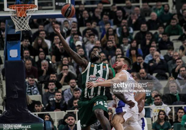 James Gist #14 of Panathinaikos OPAP Athens competes with Alec Peters #5 of CSKA Moscow during the 2018/2019 Turkish Airlines EuroLeague Regular...