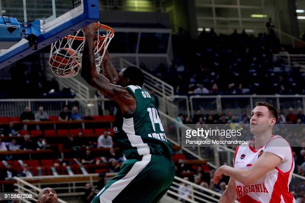 James Gist #14 of Panathinaikos Superfoods Athenns in action during the 2017/2018 Turkish Airlines EuroLeague Regular Season Round 22 game between...