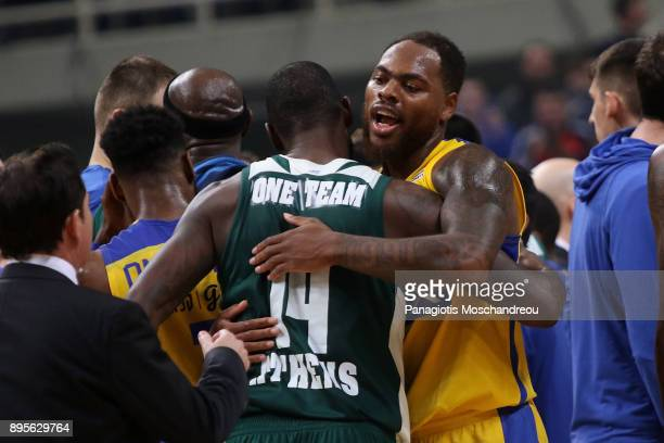 James Gist #14 of Panathinaikos Superfoods Athens and Deshaun Thomas #1 of Maccabi Fox Tel Aviv react during the 2017/2018 Turkish Airlines...