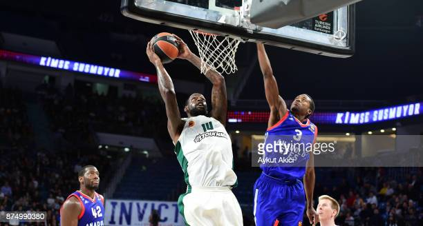 James Gist #14 of Panathinaikos Superfoods Athens competes with Errick McCollum #3 of Anadolu Efes Istanbul during the 2017/2018 Turkish Airlines...