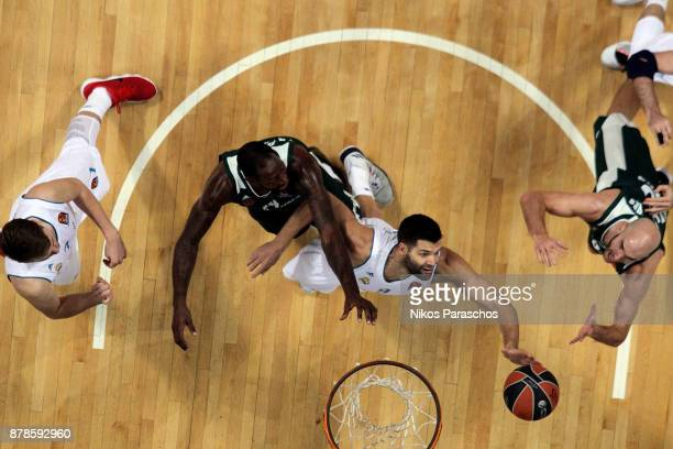 James Gist #14 of Panathinaikos Superfoods Athens competes with Felipe Reyes #9 of Real Madrid during the 2017/2018 Turkish Airlines EuroLeague...