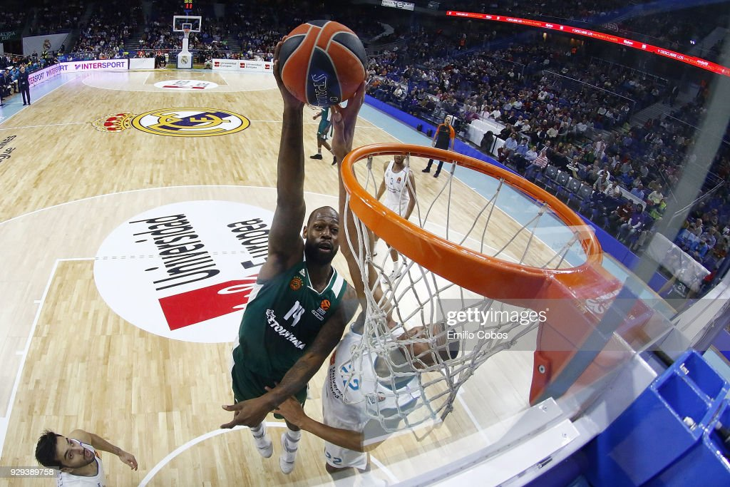 James Gist, #14 of Panathinaikos Superfoods Athens competes with Walter Tavares, #22 of Real Madrid during the 2017/2018 Turkish Airlines EuroLeague Regular Season Round 25 game between Real Madrid and Panathinaikos Superfoods Athens at Wizink Arena on March 8, 2018 in Madrid, Spain.