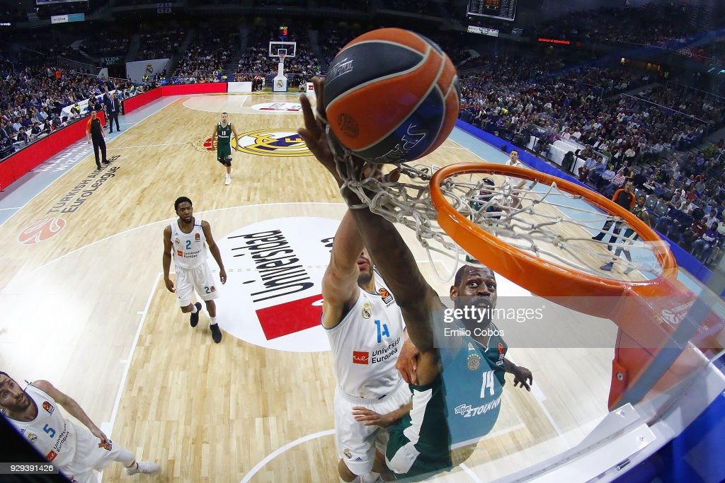 James Gist, #14 of Panathinaikos Superfoods Athens in action during the 2017/2018 Turkish Airlines EuroLeague Regular Season Round 25 game between Real Madrid and Panathinaikos Superfoods Athens at Wizink Arena on March 8, 2018 in Madrid, Spain.