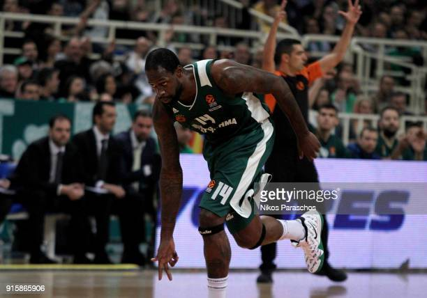 James Gist #14 of Panathinaikos Superfoods Athens react during the 2017/2018 Turkish Airlines EuroLeague Regular Season Round 22 game between...