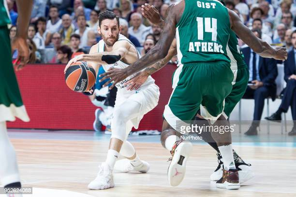 James Gist #14 of Panathinaikos Superfoods Athens vies Rudy Fernandez of Real Madrid in action during the Turkish Airlines Euroleague Play Offs Game...