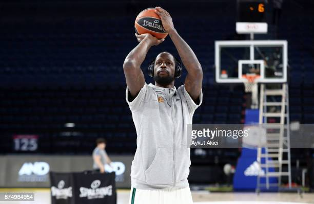 James Gist #14 of Panathinaikos Superfoods Athens warmsup prior to the 2017/2018 Turkish Airlines EuroLeague Regular Season Round 8 game between...