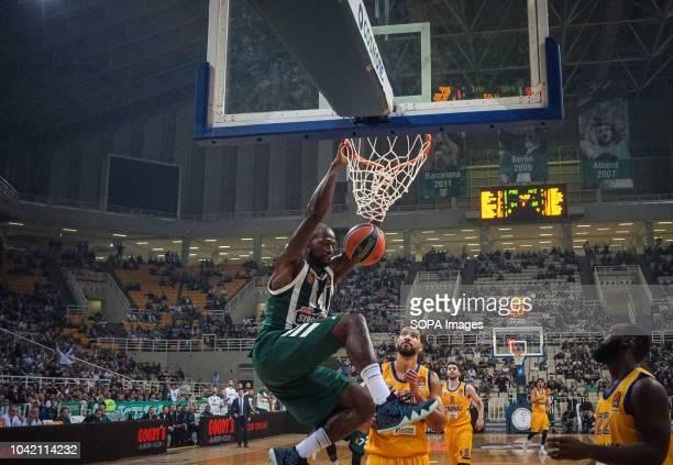 James Gist of Panathinaikos dunks towards basket during the tournament Pavlos Giannakopoulos between Panathinaikos and Khimki at Athens Olympic...