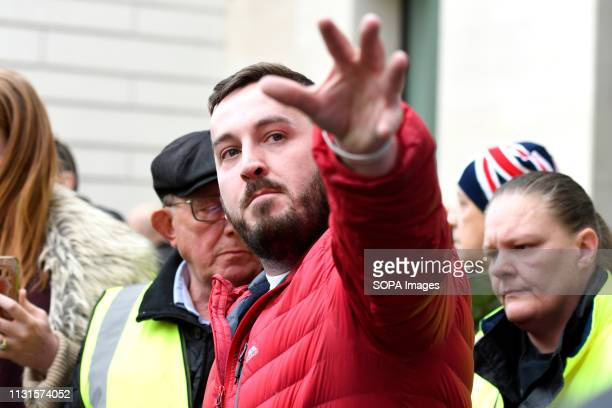 James Goddard seen outside Westminster Magistrates Court where he is charged with harassment Brexit protester and leading member of the Yellow Vest...