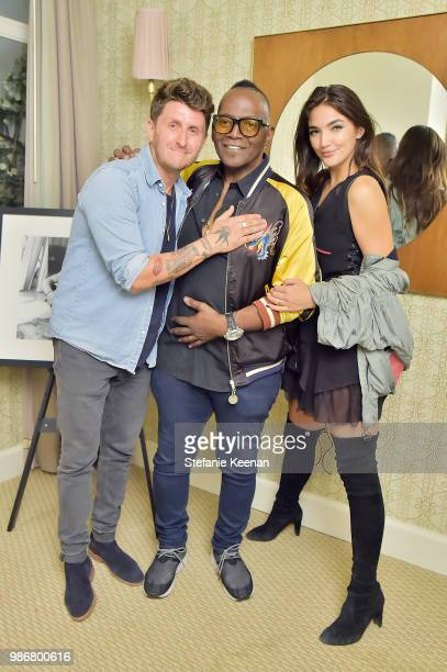 James Goldcrown Randy Jackson and Hailee Lautenbach attend Diesel Presents Scott Lipps Photography Exhibition 'Rocks Not Dead' at Sunset Tower on...