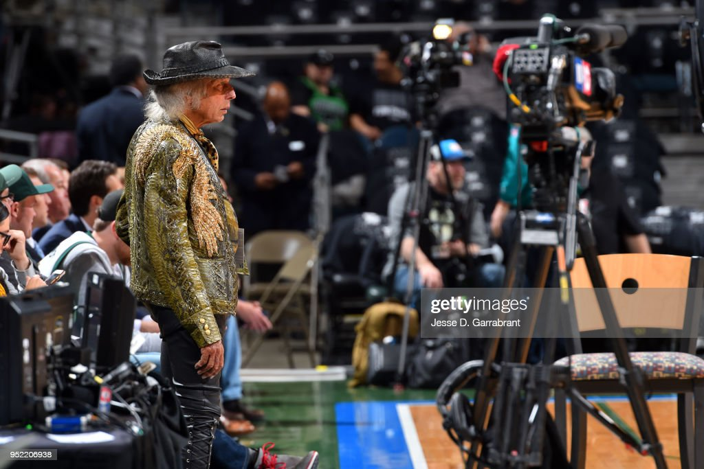 James Goldestein looks on prior to Game Six of Round One of the 2018 NBA Playoffs between the Milwaukee Bucks and Boston Celtics on April 26, 2018 at the BMO Harris Bradley Center in Milwaukee, Wisconsin.
