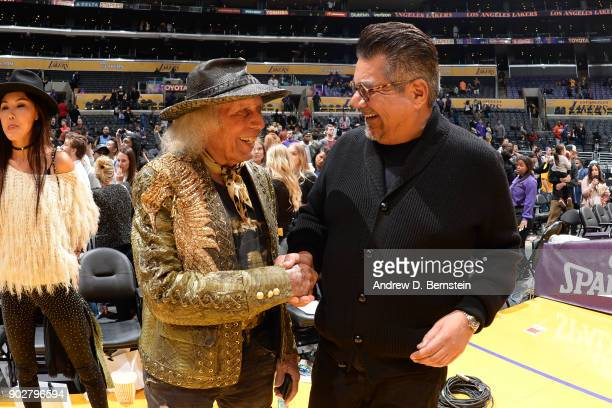 James Goldstein and comedian George Lopez attend the game between the Oklahoma City Thunder and the Los Angeles Lakers on January 3 2018 at STAPLES...