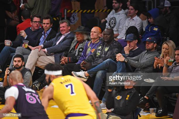 James Goldstein and Flea attend a game between the Minnesota Timberwolves and Los Angeles Lakers on January 24 2019 at STAPLES Center in Los Angeles...
